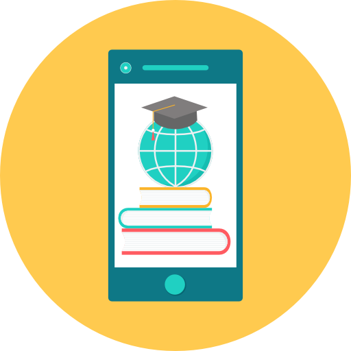 Smartphone with books, globe, and graduation cap.