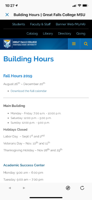 building hours