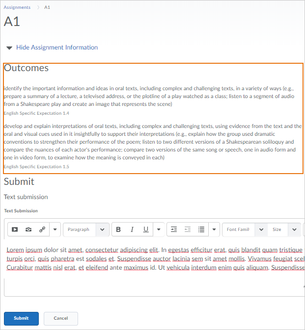 Learner view when submitting an assignment with associated Outcomes