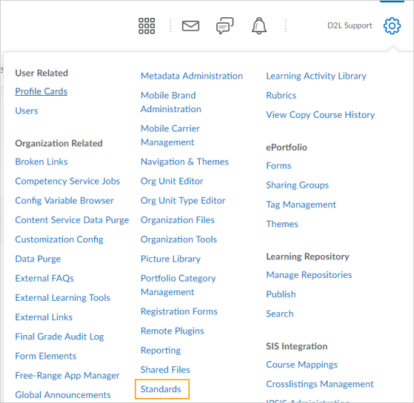 The new Standards tool in the Admin Tools menu