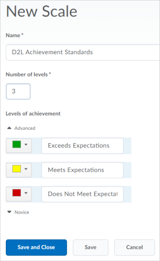 A scale with 3 levels of achievement in the Standards tool