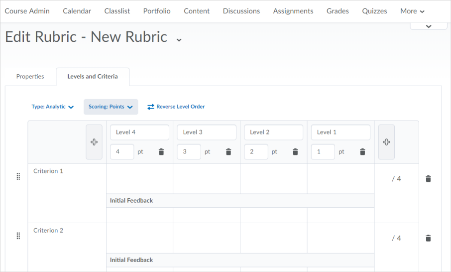 The new rubric creation experience
