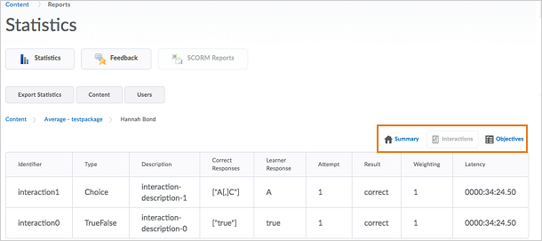 Figure: The Summary, Interactions, and Objectives buttons as they appear on the SCORM report page