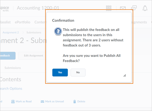 The Publish All Feedback button confirmation dialog box indicating outstanding anonymous users that still require feedback
