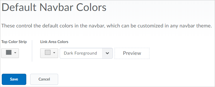 Administrators can set the default colors that appear in the navbar and theme